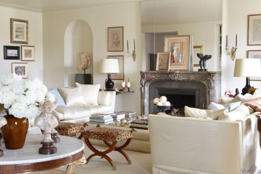 French Antique Grace this elegant apartment. From the marble topped single pedestal gueridon to the French Louis XV style marble fireplace.