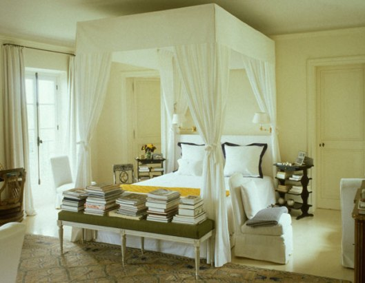 Givenchy's bedroom at Le Clos in the South of France. C.1988