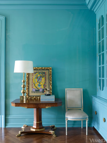 I think I'd tire of this color pretty quickly. I DO love the Empire games table and Louis XVI antique chair.