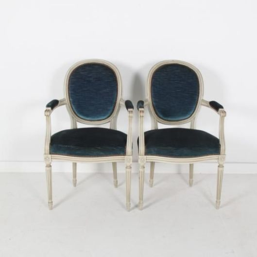 Antique White Louis XVI Style Cameo Backed Chairs from Paris with a very pretty distressed white original paint.